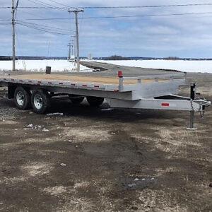 Remorque 102x20 2x5200 lbs plateforme en aluminium deck over