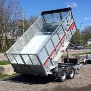 Remorque benne dompeur 6x12 2x5200 lbs Laroche rehausse grillagée acier galvanisé GAD6X12