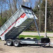 Remorque benne dompeur 6x12 2x5200 lbs rehausse grillagée acier galvanisé Remorque Laroche GAD6X12