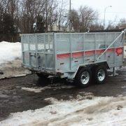 Remorque dompeur Laroche en acier galvanisé GAD6X12 2x 5200 lbs avec rehausse grillagée et rampes