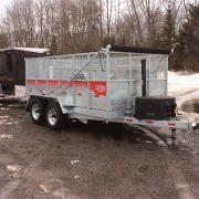 Remorque dompeur Laroche en acier galvanisé GAD6X12 2x 5200 lbs avec rampes et rehausse grillagée