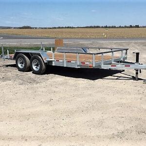 80X16 2X5200 lbs Remorque Laroche plateforme en acier galvanisé avec rampes Côtés ajourés